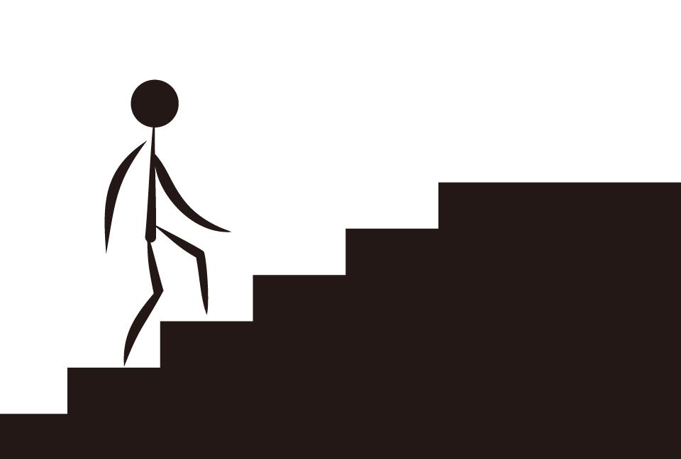 階段を上る人のアイコンの黒色の...