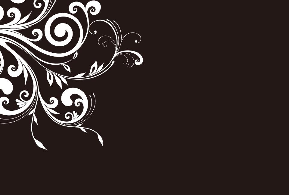 シンプルな花の蔓のシルエットの黒色の背景素材aiepsのイラレ